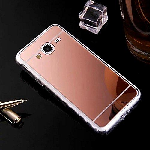 Hancda Specchio Cover per Samsung Galaxy J3 2016 / J320, Custodia Cover Specchio Mirror Case Silicone Ultra Slim Sottile Elegante Antiurto Protettiva per Samsung Galaxy J3 2016 / J320,Oro Rosa