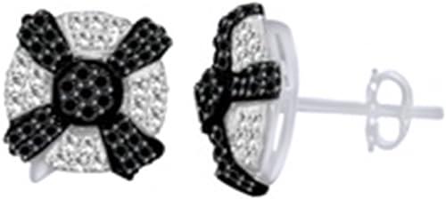 SchwarzWeiß& Diamant-Akzent OhrStücker für Frauen und mädchen in 14 WeißVerGoldet Sterling Silber