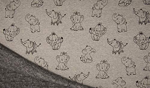 Die Stofftante Kuschelsweat Alpenfleece Elephant Grey Melange 50x145 cm Meterware