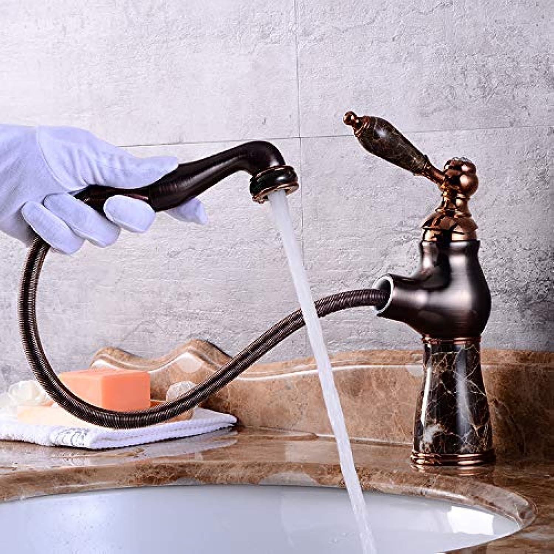 ROTOOY Wasserhhne Waschtischarmaturen Antikes Kupfernes Teleskopisches Ausdehnbares Wasserhahnwaschbecken Ziehen Art Warmes Und Kaltes Goldhahnbad, Orb-Marmorzug