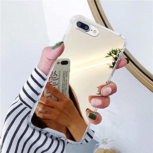LIUYAWEI Custodia Full View Mirror per iPhone 13 11 PRO Max 6 6s 8 7 Plus 12 X XS Max XR SE 2020 Cover Posteriore Antiurto in Silicone per Telefono, Oro, per iPhone 13 Mini