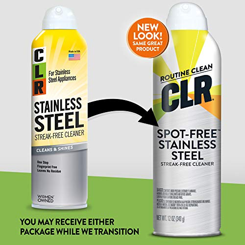 CLR Spotless Stainless Steel, Streak-Free, 12 Ounce Aerosol Spray Can (Packaging May Vary)