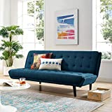 Modway Glance Mid-Century Modern Upholstered Fabric Convertible Futon Sofa Bed Couch In Azure