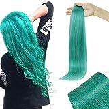 RUNATURE Adhesivo Extensiones De Pelo 22 Pulgadas Verde Azulado Extensions Human Hair 25g Extensiones Adhesivas Pelo Natural