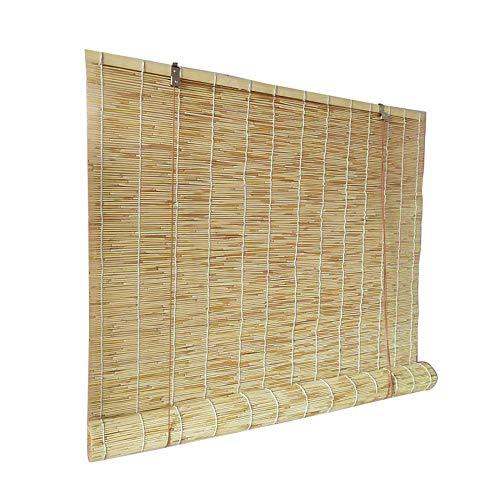 GEREP Estor Enrollable de Bambú Natural, Persiana de Bambú Cortina de Paja, Antipolvo, para Interior Exterior Jardín Ventana/Como se muestra / W1×H2.5m