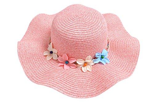 Chytaii sombrero de sol Capeline en paja sombrero de transición Large niña niño anti-soleil UV sombrero de playa viaje protección solar en verano con decoración flores, multicolor