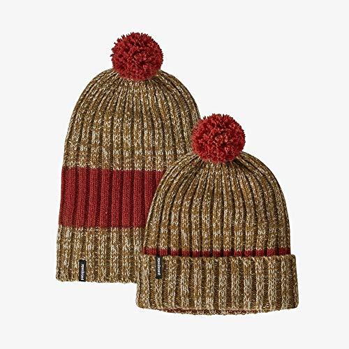 Patagonia Damen Wool Pom Beanie Baskenmütze, Horizontal gestrickt/Baun/Rot (hot Ember), Einheitsgröße