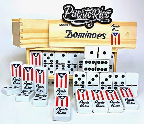 Azulejos del juego de dominó de Puerto Rico y parches de bandera de Puerto Rico