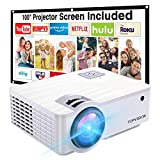 """Projector,TOPVISION 6000L Mini projector with 100"""" Projector Screen, 1080*720P Supported 240' Outdoor projector,Built in HI-FI Speakers, Compatible with Fire Stick, HDMI, VGA, USB, TF, AV, PS4"""