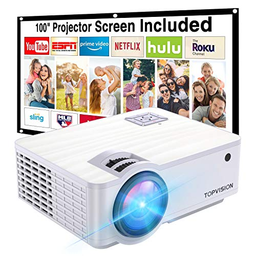 "Projector,TOPVISION 6000L Mini projector with 100"" Projector Screen,..."