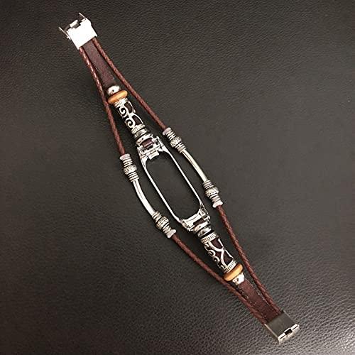 Correa para la banda MI 4 pulsera Banda trenzada Banda Banda de reloj Brazalete para MI Smart Watch Accesorios (Color : Red bwown)