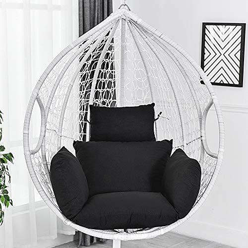 Dandelionsky Ei hangstoel kussen opknoping mand stoel kussen dikke schommelstoel terug met kussen voor binnen buiten patio tuin - geen stoel Zwart
