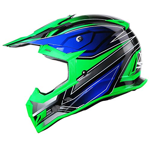 GLX Unisex-Adult GX23 Dirt Bike Off-Road Motocross ATV Motorcycle Helmet for Men Women, DOT Approved (Sear Green, Large)