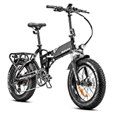 Eahora X7 Plus 750W Fat Tires Folding Electric Bike Full Suspension Hydraulic Brakes 48V Electric Bikes for Adults, 20Inch 4.0 Electric Bicycle Cruise Control, Shimano 8-Speed