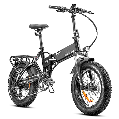 eAhora X7 Plus 750W Fat Tires Folding Electric Bikes for Adults, Shimano 8-Speed Ebikes with 48V 14A Lithium Battery, Dual Hydraulic Brakes Commuter Bike, Full Suspension Cruise Control
