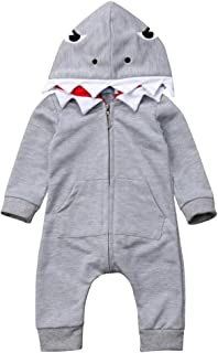 Toddler Baby Boys Girl Shark Costumes Outfits, Infant Hooded Zip Up Romper Jumpsuit One Piece Onesie Winter Clothing
