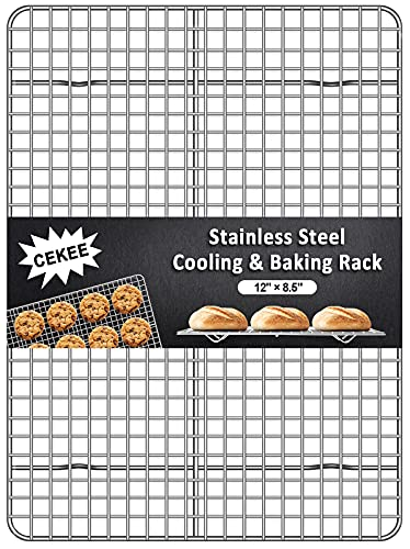 CEKEE Baking Cooling Rack for Cooking, Fit Quarter Sheet Pan, Stainless Steel Wire Cooling Racks for Oven Safe, Rectangle Cookie Rack[12' x 8.5'], Non-Toxic & Proof Rust, Healthy & Dishwasher Safe