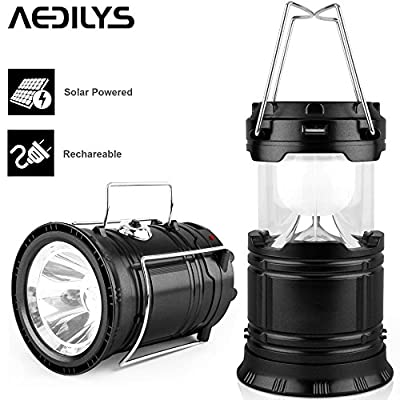 AEDILYS Ultra Bright Camping Lantern, Solar Rechargeable LED Camp Light & Handheld Flashlight in the Bottom & Collapsible Camping Lantern for Hiking, Camping, Fishing, Hurricanes, Outages