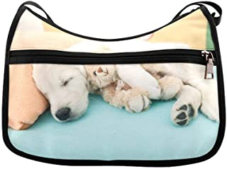 The Lovely Puppy Sleeps In Bed Messenger Bag Crossbody Bag Large Durable Shoulder School Or Business Bag Oxford Fabric For Mens Womens