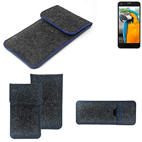 K-S-Trade® Handy Schutz Hülle Für Vestel V3 5040 Schutzhülle Handyhülle Filztasche Pouch Tasche Case Sleeve Filzhülle Dunkelgrau, Blauer Rand