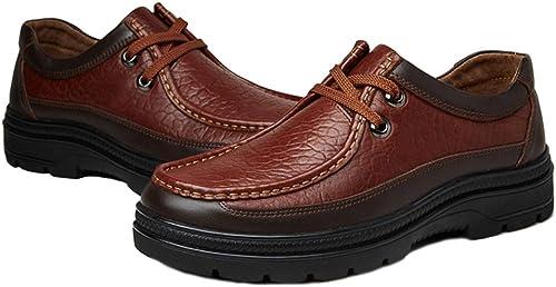LUCKYEUD Chaussures d'affaires pour Hommes Hommes Chaussure à Lacets Tout Confort Doublée De Cuir pour Le Travail Professionnel,marron-A-EU41  vente de sortie