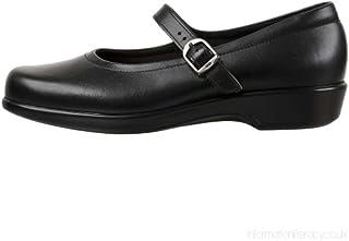 حذاء حريمي من SAS مطبوع عليه صندل Mary Jane من الجلد الأسود مقاس 7