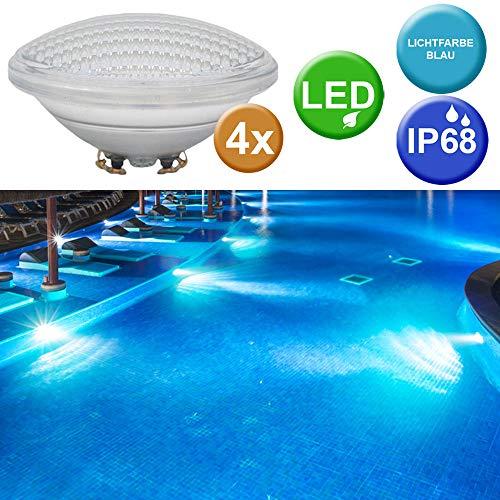 4x SMD LED Schwimm Bad Pool Lichter Leuchtmittel Becken Scheinwerfer PAR56 blau