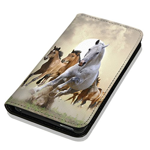Hülle Galaxy S6 Hülle Samsung S6 G920 Schutzhülle Handyhülle Flip Cover Case Samsung Galaxy S6 G920 (OM1025 Pferd Pferde Braun Weiß)