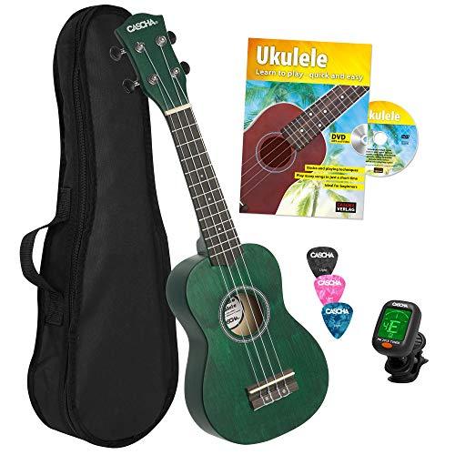 CASCHA - Ukelele soprano verde, pequeño hawaii guitarra para niños y adultos, con libro de ukelele, afinador, bolsa, 3 púas y cuerdas Aquila