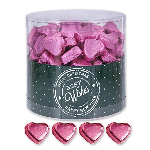Günthart 150 Stück rosa Schokoladen Herzen mit Nougatfüllung | Nougatcreme Kaffeehaus | Schokoladenherzen rosa Best Wishes | Give away | rosa Herzen aus Schokolade | Best Wishes (1,2 kg)