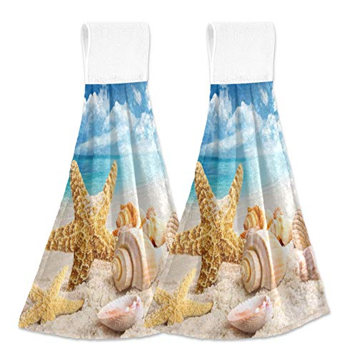 Alaza Starfish and Seashells on The Beach with Blue Sky8 Hanging Kitchen Hand Towels with Loop Super Absorbent Hand Towels Machine Washable 2 Piece Sets