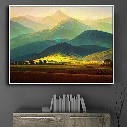 Leinwandbild mit klassischem Meisterwerk, riesiger Berg-Posterdruck, Wandkunst, Bilder für Wohnzimmer-Dekor, 50 x 60 cm (ohne Rahmen)