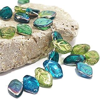 45 pcs Multicolor Mix of Czech Glass Leaf Beads 12mm