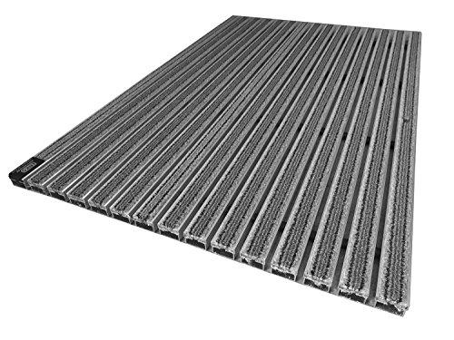 EMCO Eingangsmatte DIPLOMAT 22mm Textilbürste grau Fußmatte Schmutzfangmatte Fußabtreter Antirutschmatte, Größe:590 x 390 mm