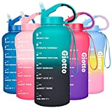 Giotto 64oz Leakproof BPA Free Drinking Water Bottle with Time Marker to Ensure You Drink Enough Water Throughout The Day for Fitness and Outdoor Enthusiasts