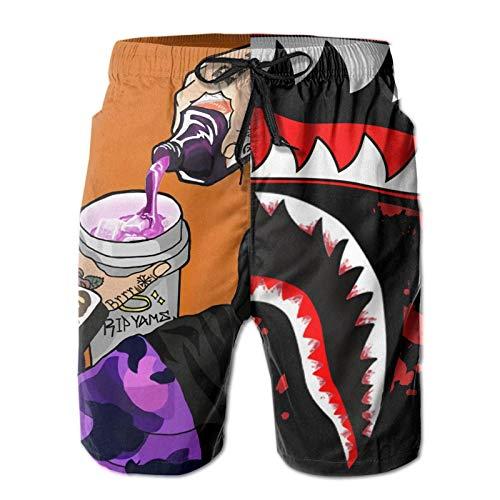 JooKrrix Bañador divertido para hombre, de secado rápido, pantalones cortos de playa, forro de malla hawaiana informal - negro - Large