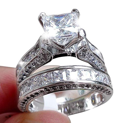 Zhiwen Lovely Ring -2-in-1 Womens Vintage Princess Cut Topaz Cz 10KT White Gold Filled White Diamond Silver Engagement Wedding Band Ring Set Size6-10 (US Code 10)
