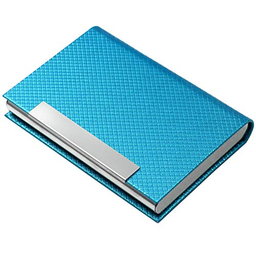 Business Card Holder, Business Card Case Luxury PU Leather & Stainless Steel Multi Card Case,Business Card Holder Wallet Credit Card ID Case/Holder for Men & Women. (T-Azure)