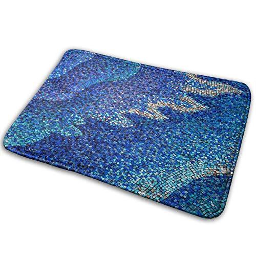 SNFDFS Alfombra De Baño Azulejos de Mosaico Elegante Verde Azulado Ondas, Alfombra Absorbente Antideslizante, Alfombra De Baño De Microfibra Esponjosa, Alfombras De Ducha De, Lavable a Máquina