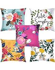 Swasiya™ Jute Printed Digital Desgin Decorative Sofa Cushion Cover Pack of 5 (40x40 cm or 16x16 Inch)- Set of 5