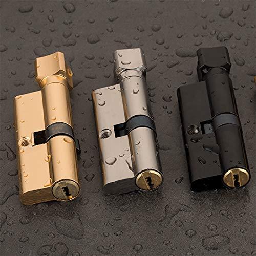 3 Piezas Cilindro cerradura puerta seguridad con pomo 35 35(70mm) con cierre antigolpes y con 3 llaves(Plata, Oro, Negro)