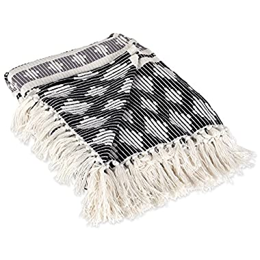 DII Classic Colby Southwest Cotton Handwoven Stripe Blanket Throw with Fringe for Chair, Couch, Picnic, BBQ, Camping, Beach, 50 x 60 -, Black and Gray