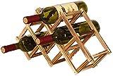 Anyeat Botellero de bambú para 6 Botellas, Plegable Estante del Vino Vino de Madera Espacio mínimo Botellero Rustico Se Puede Usar como Tapicería