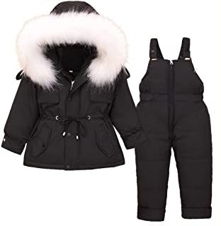 SANMIO Toddler Baby Girls Two Piece Snowsuit, Cute Winter Hooded Puffer Down Jacket Coat with Ski Bib Pants