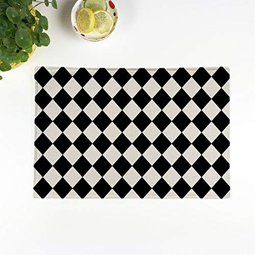 rouihot Set of 4 Placemats Shape Harlequin Argyle Pattern Made of Black Diamonds Over Non-Slip Doily Place Mat for Dining Kitchen Table