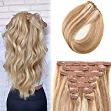 P18/613 Ombre Hair Extensions Clip in Human Hair 20 inch Ash 613 Highlighted Bleach Blonde 70g 9Pcs Short Thick End Clip in Hair Extensions Human Hair (P18/613, 20)