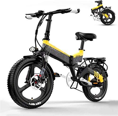 Bicicleta eléctrica de nieve, Ligera eléctrica plegable bicicletas for adultos, 48  pulgadas extraíble de alta capacidad de 20 pulgadas bicicletas de ciudad E, 12.8 / 10.4Ah de iones de litio (par