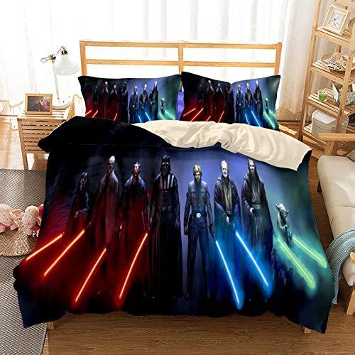 YZHY Star Wars - Set copripiumino con lenzuola, biancheria da letto, con personaggi 3D, motivo animali, adatto per bambini e bambine, 220 x 240 cm