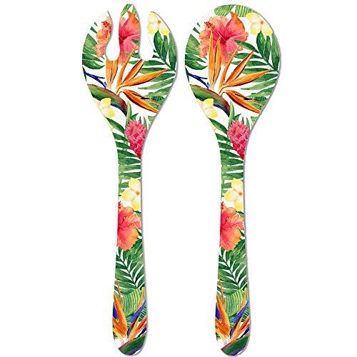 Les Jardins de la Comtesse - Couverts à Salade de Service en Mélamine Pure - Fleurs Exotiques - 33 cm – Rouge/Vert - Couverts de Service de la Collection de Vaisselle Quasi-Incassable MelARTmine