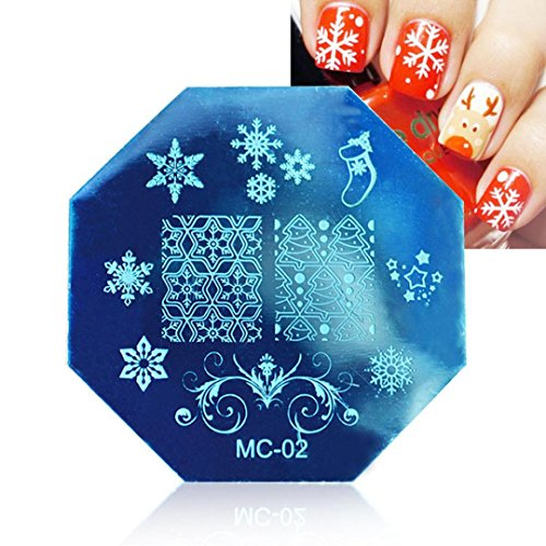 Tonsee Noël bricolage Image timbre plaques Stamping manucure modèle Nail Art plaque